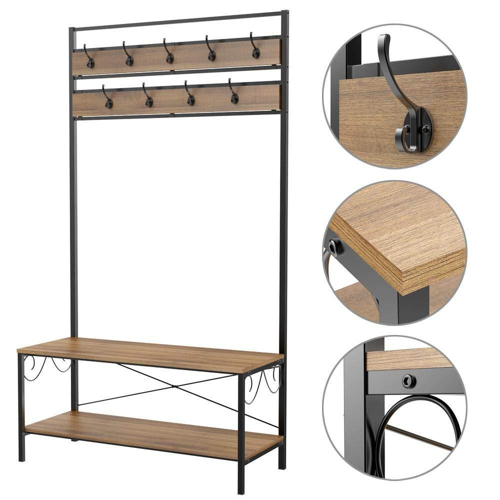 Amazon best topeakmart vintage coat rack 3 in 1 hall tree entryway shoe bench coat stand storage shelves 9 hooks in black metal finish