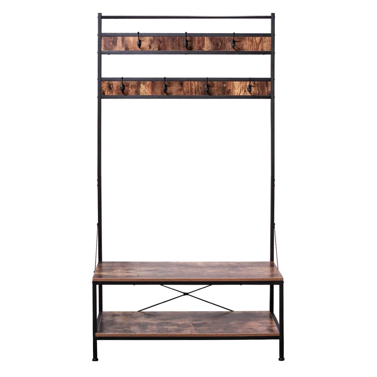Explore ironck coat rack free standing hall tree industrial entryway organizer coat stand with storage bench mdf board multifunctional sturdy metal frame large size