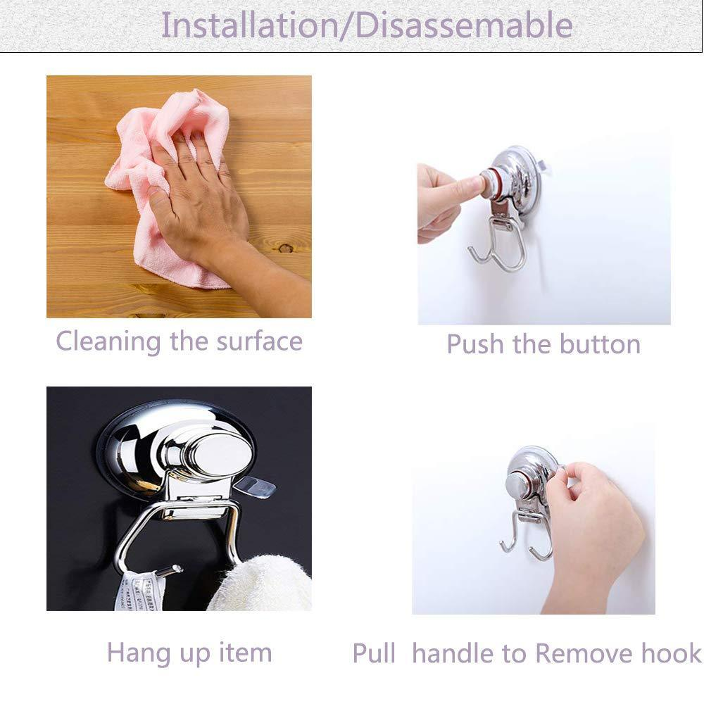 Shop powerful vacuum suction hooks mocy strong stainless steel suction cup hooks for bathroom kitchen wall home removable shower hools hanger damage free for towel bath robe coat and loofah pack of