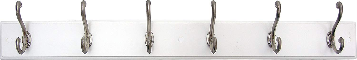 Headbourne 93785 Hook Rail/Coat Rack with 6 Satin Nickel Hooks, White Board