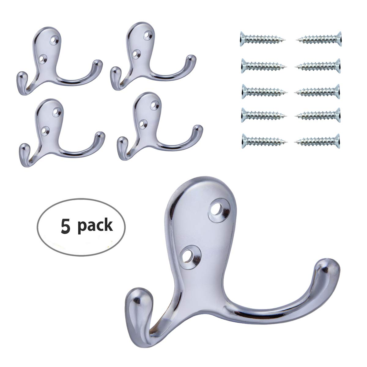 HoveBeaty Wall Hooks Double Prong Robe Hook Rustic Hooks Retro Clothes Hanger Coat Hanger Wall Mounted Hook with Screws 5 Pack (Silver)