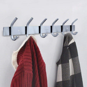 Latest homeideas 17 inch coat hook rail sus304 stainless steel coat bath towel hook hanger with heavy duty double 6 hooks brushed finish