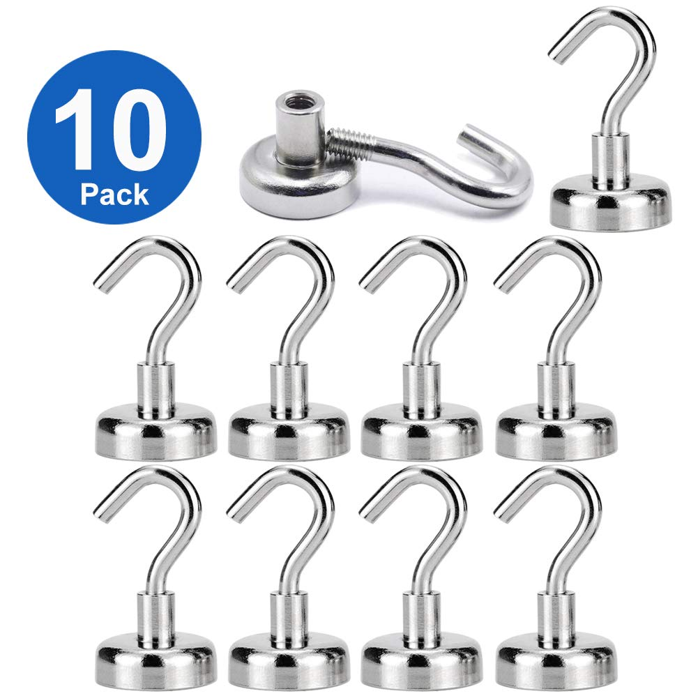 Heavy Duty Magnets, ETopLike Strong Neodymium Magnet Hook for Home, Kitchen, Workplace, Office and Garage, Hold up to 12 Pounds (10 Pack)