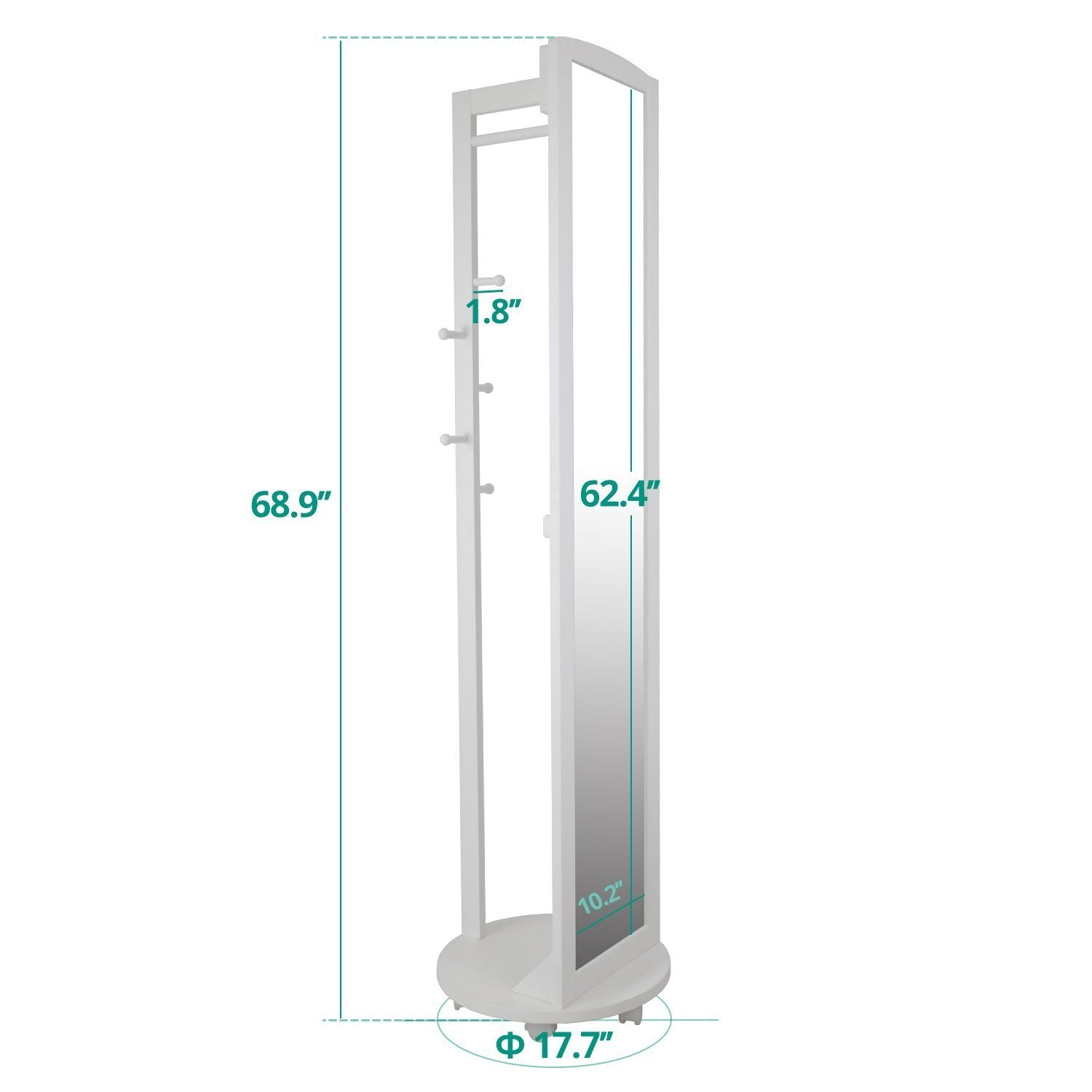 Storage tiny times multifunctional 360 swivel wooden frame 69 tall full length mirror dressing mirror body mirror floor mirror with hanging bar coat stand coat hooks ivory white