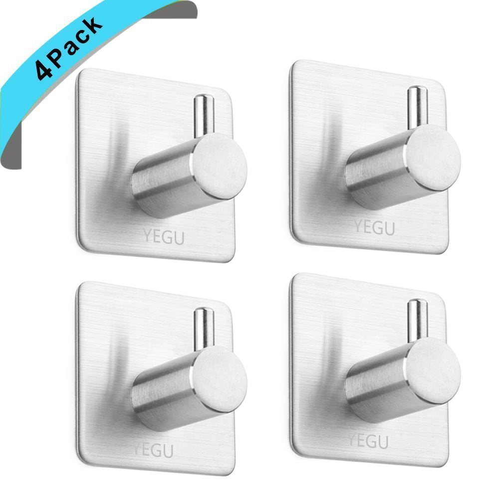 Yegu 3M Self Adhesive Hook 4 Pack SUS304 Stainless Steel Brushed Nickel Robe Towel Coat Hanger Key Rack Garage Storage Organizer Stick On Sticky Bathroom Kitchen Wall Mount Heavy Duty
