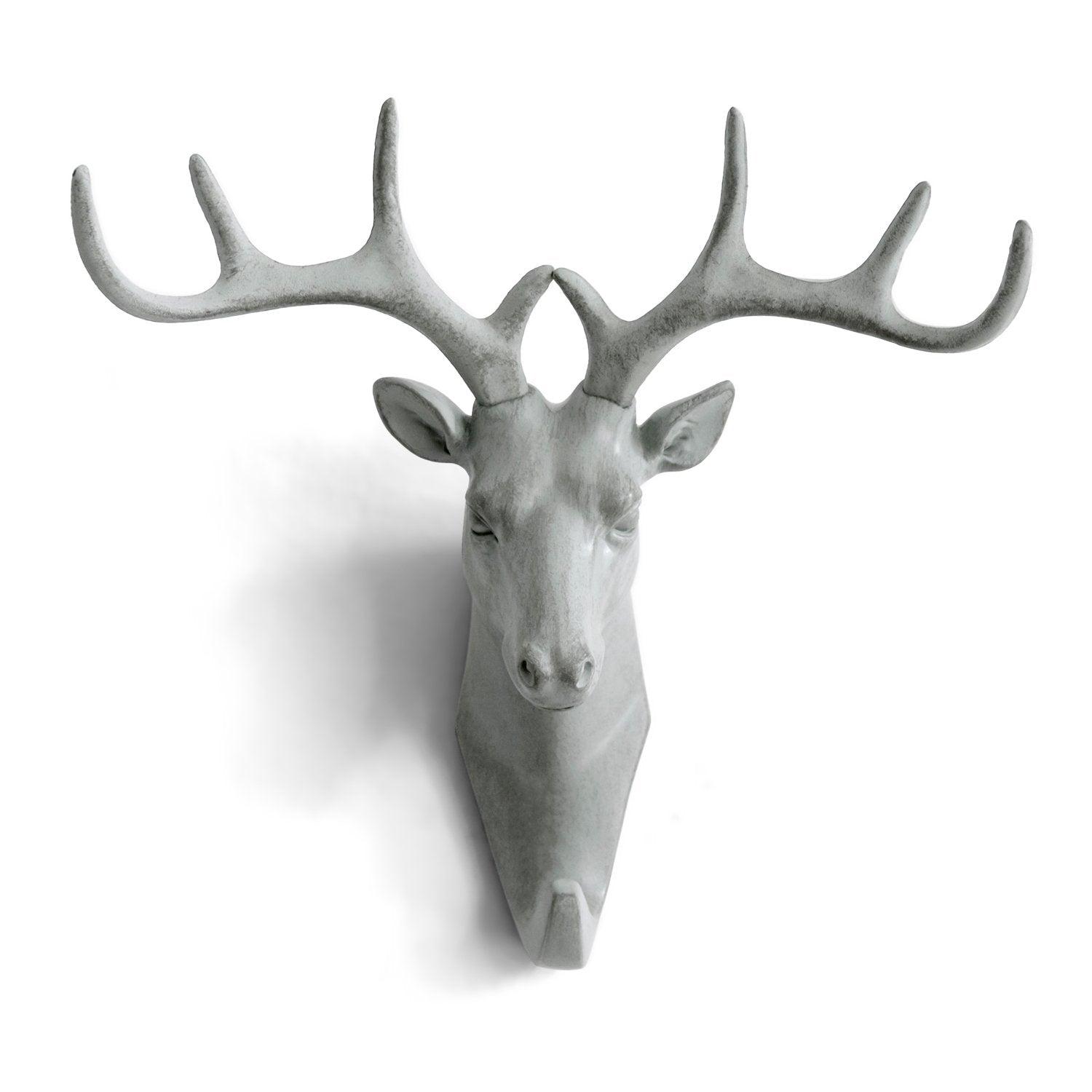 Herngee Deer Head Single Wall Hook / Hanger Animal shaped Coat Hat Hook Heavy Duty, Rustic,Recycled, Decorative Gift , Grey