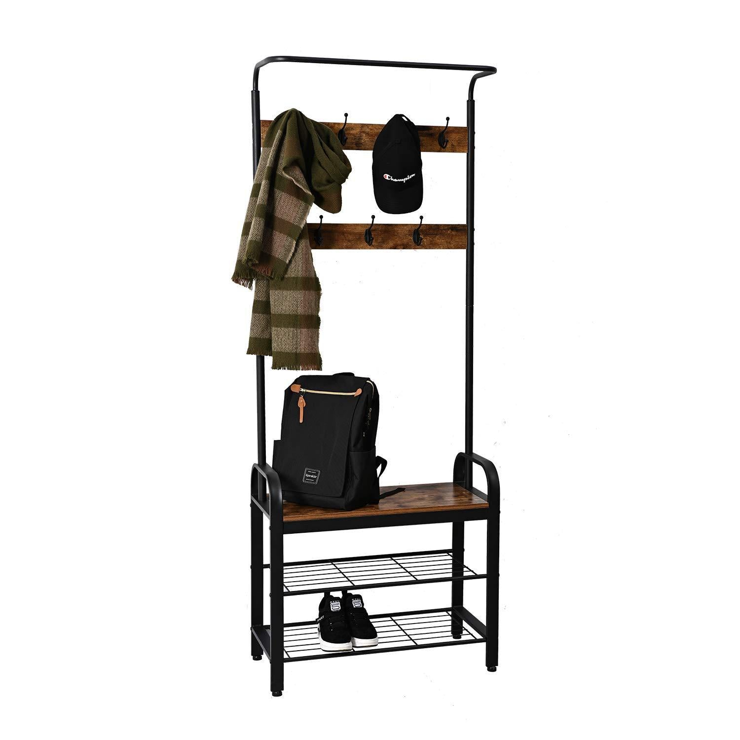 Purchase ironck coat rack free standing hall tree entryway bench entryway organizer vintage industrial coat stand 3 in 1 design wood look accent furniture with stable metal frame easy assembly
