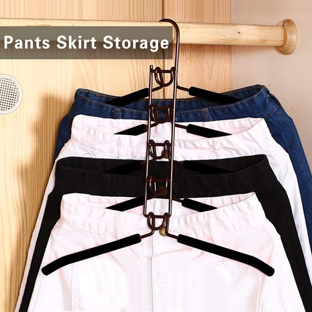 Latest pupouse multi layers clothes hangers 5 in 1 anti slip sponge metal clothes rack multifunctional closet hanger space saving organizer for jacket coat sweater skirt trousers shirt t shirt