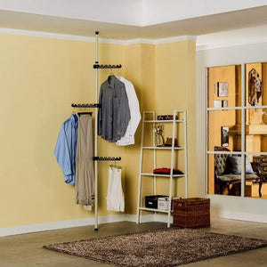 Discover the xqy clothes stand coat racks portable indoor garment rack tools free diy coat hanger clothes wardrobe heavy duty stainless steel poles and bars reach hook included space fit and saver stable and