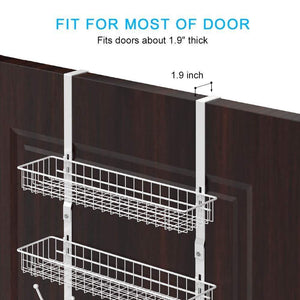 Select nice nex upgrade over the door hook shelf organizer 5 hooks with 2 baskets storage rack for coats towels chrome white