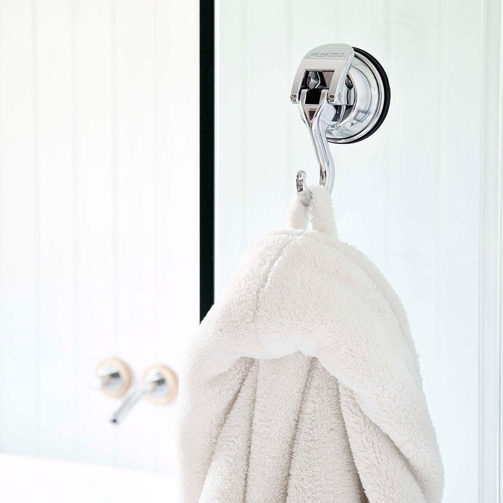 Selection fe h2003 2pk 2 pack powerful push and lock stainless steel metal kitchen shower bathroom organizer towel coat swivel suction hook holds up to 13 lbs in chrome