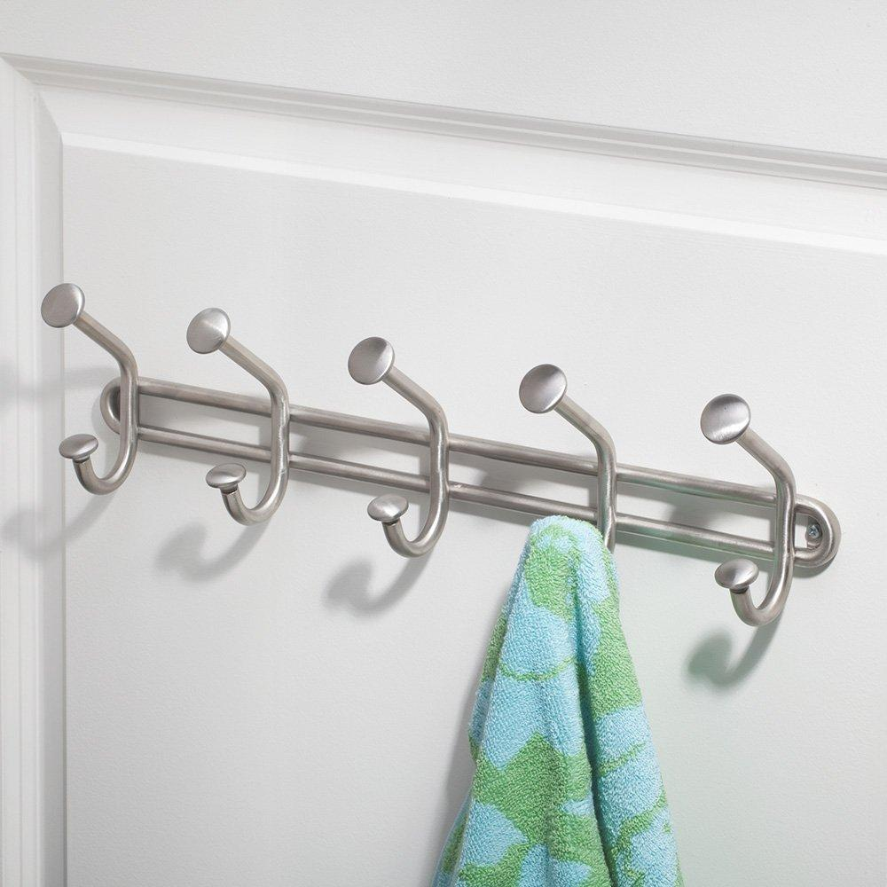 Great interdesign forma wall mount storage rack hanging hooks for jackets coats hats and scarves 5 dual hooks brushed stainless steel