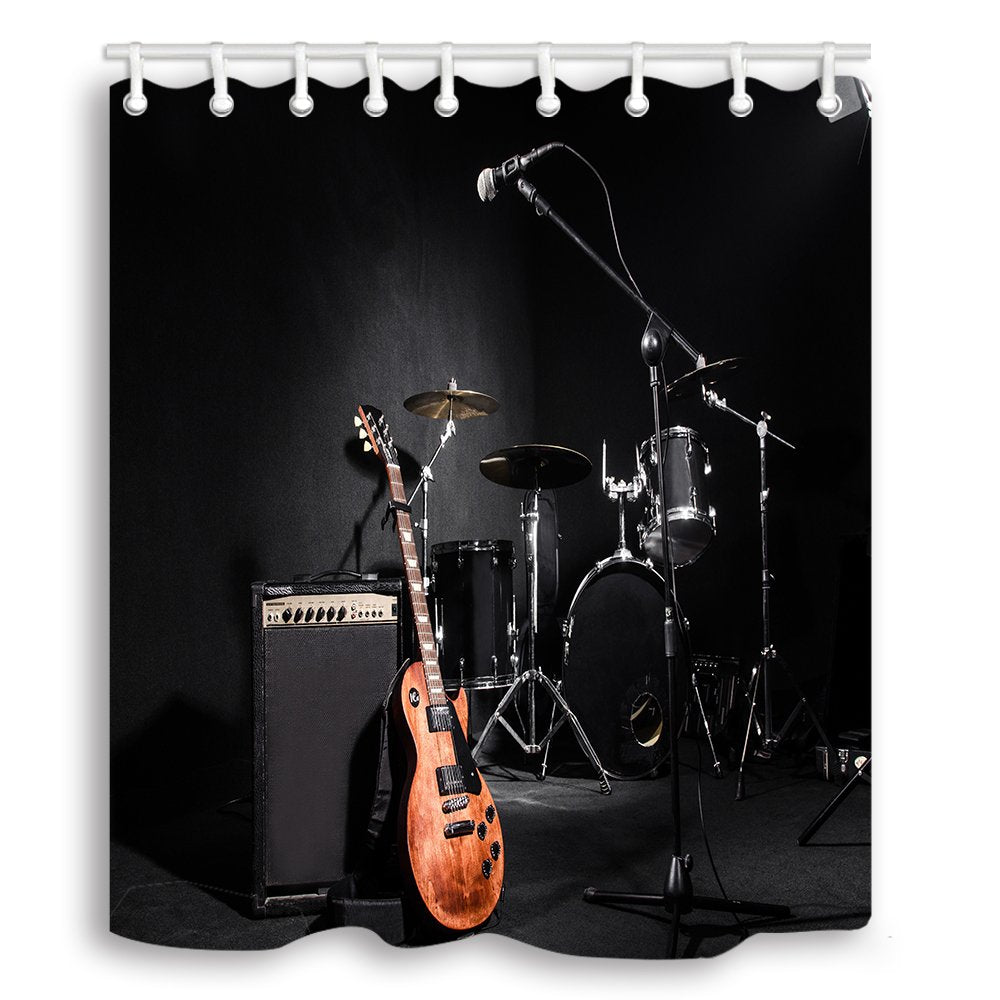 NYMB Music Shower Curtains Set, Musical Instruments Guitar with Drum in Black Waterproof Fabric Shower Curtain, Bathroom Curtain,Hooks Included, 70X70in