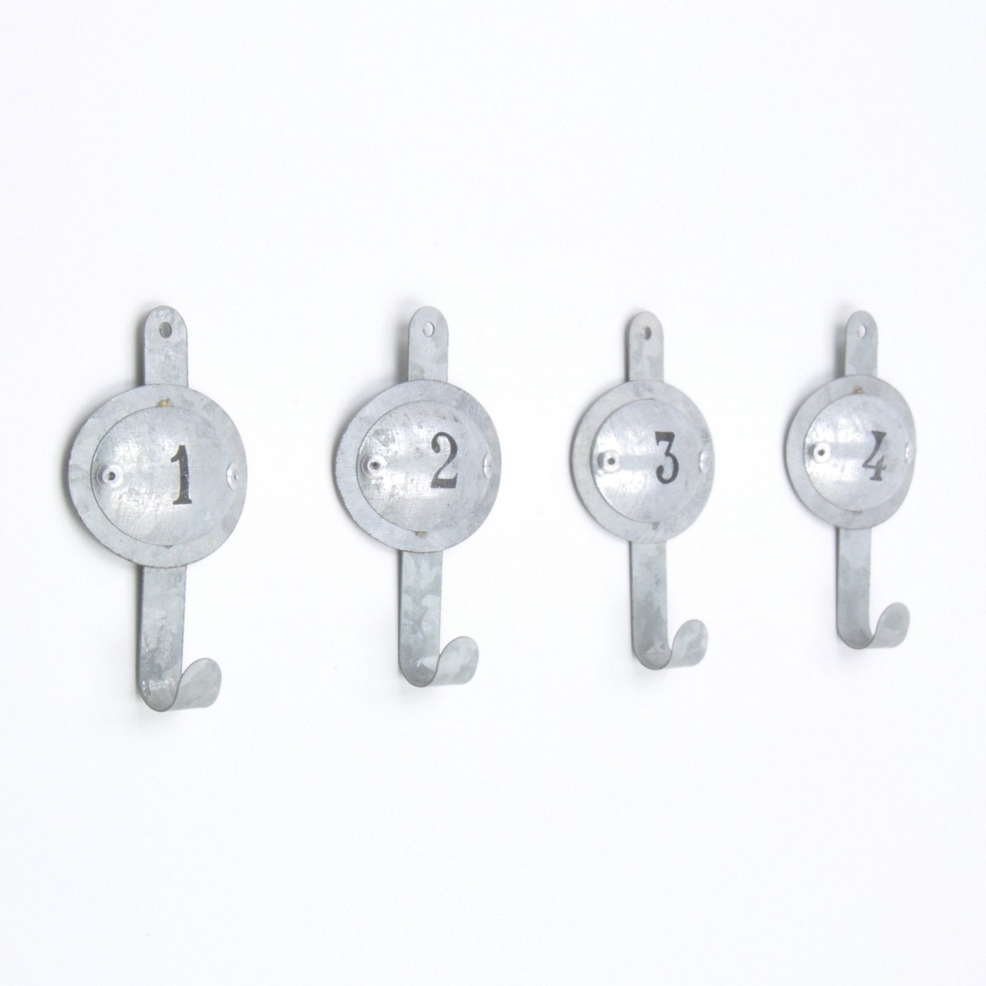 Industrial Numbered Grey Metal 1 to 4 Coat Hook Hooks Wall Mounted Door Hook Hanger for Hat Coat Clothes Kitchen Bathroom Bedroom Office (Screws Included)