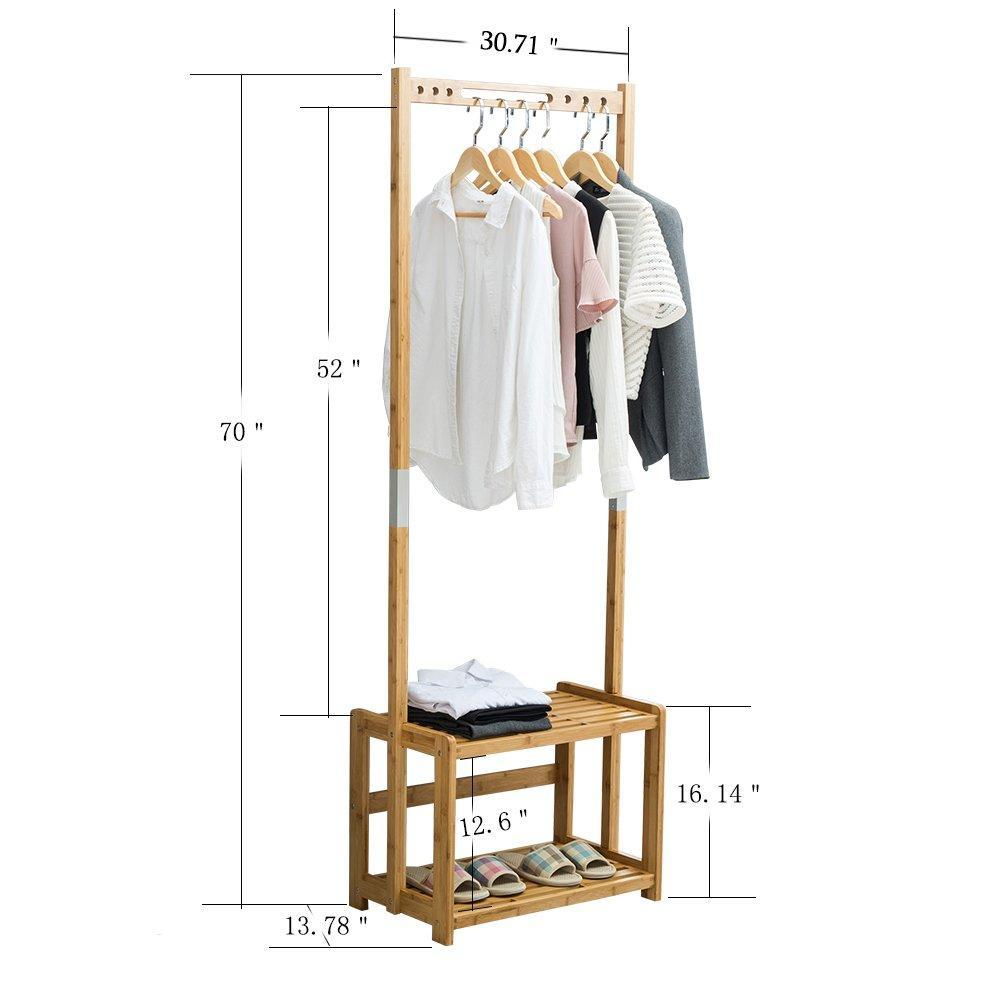Buy nnewvante coat rack bench hall trees shoes rack entryway 3 in 1 shelf organizer shelf environmental bamboo furniture bamboo 29 5x13 8x70in