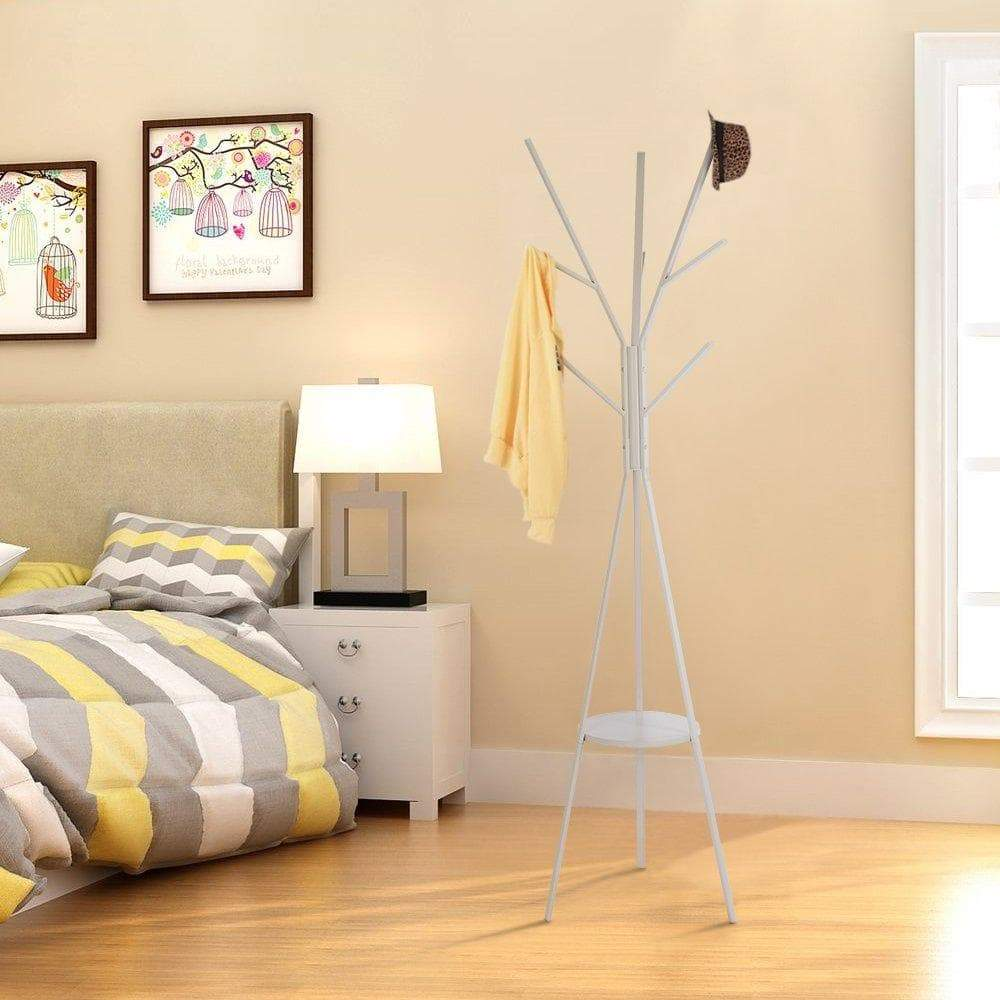 Discover the best home bi coat rack stand coat hanger with 9 hooks for holding jacket hat purse in gray