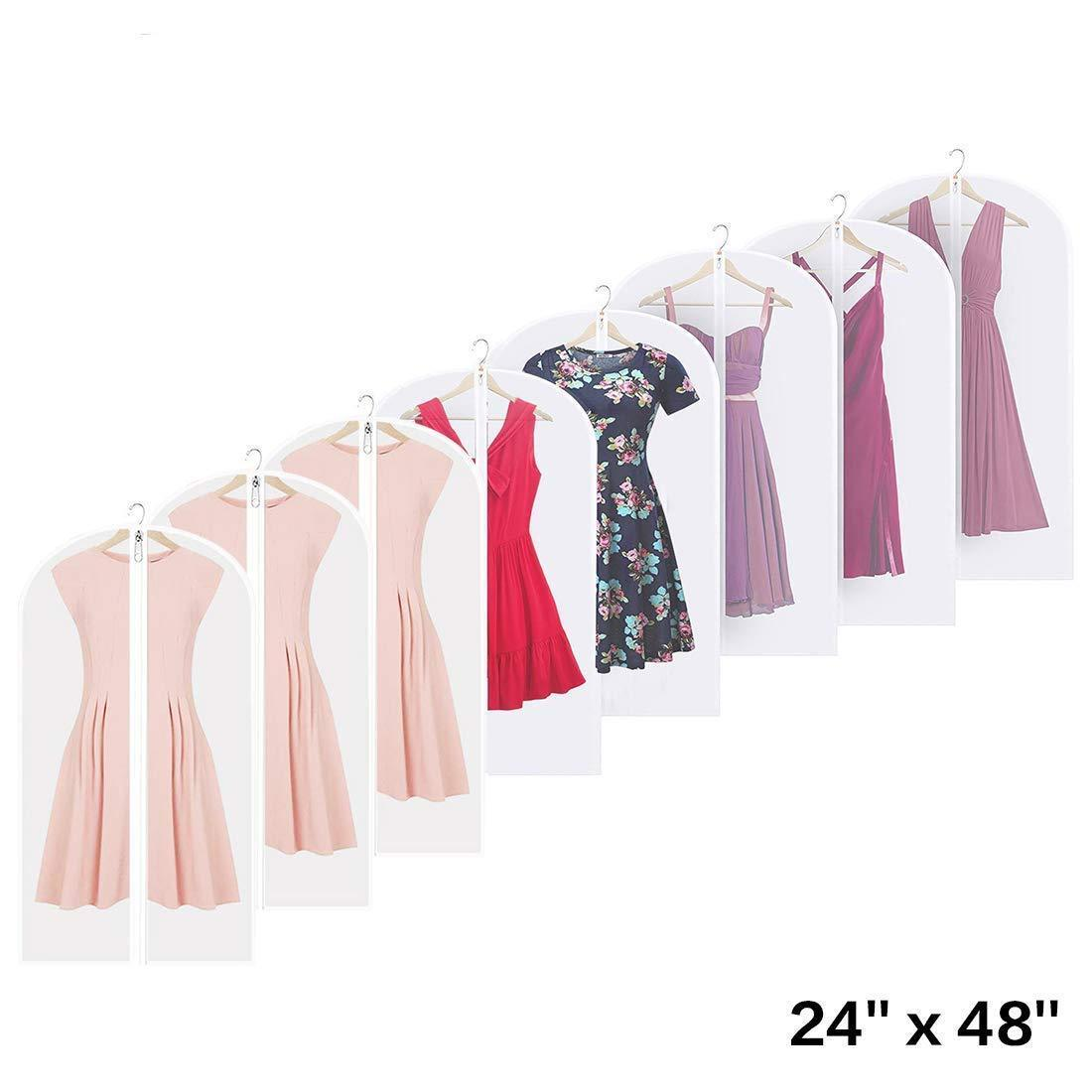 Shop linseray 8 pack hanging garment bag 24 x 48 suit bags breathable moth proof garment cover with full zipper for long dress dance costumes suits gowns coats