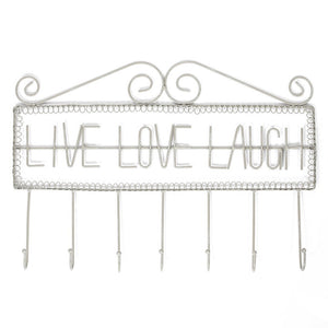 Ikee Design Live Love Laugh Fish Bone Metal Wall Mounted Coat Rack/Key Hooks Entryway Organizer/Wall Hanger/Hanger Hooks for Coats, Hats, Scarves, Clothing, Towels, Key or Jewelry