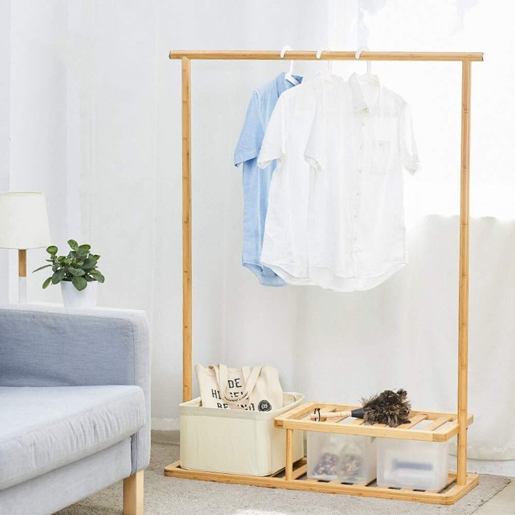 Select nice wooden coat rack multifunctional bamboo solid wood coat rack floor rack combination coat stand shoe rack bedroom hanger rack color a