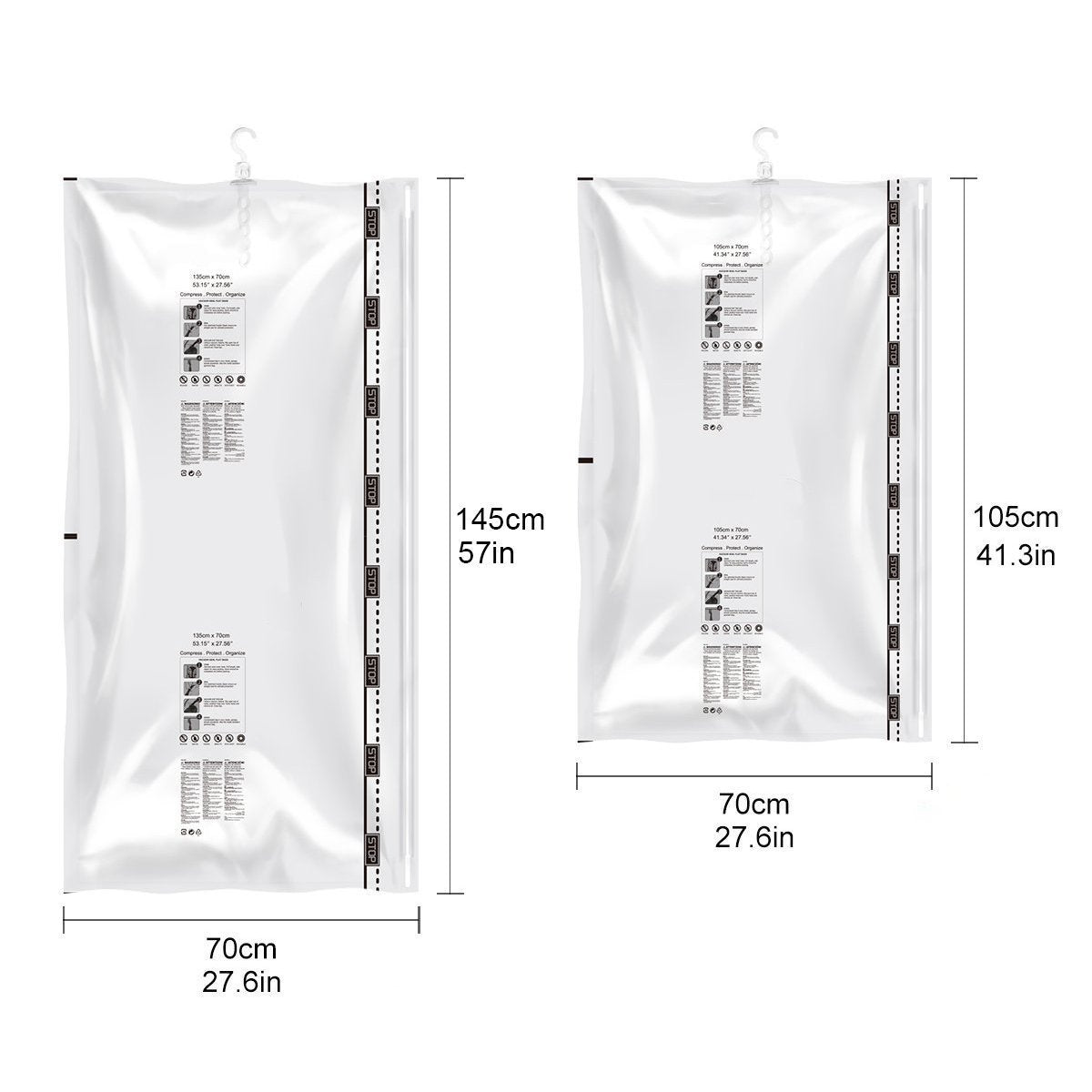 Order now stephenie hanging vacuum space saver bags 4 pack 4 l 57 x 27 1 2 for coats long clothes closet organizer storage bags