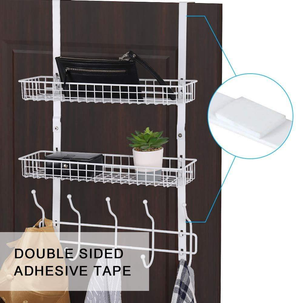Selection nex upgrade over the door hook shelf organizer 5 hooks with 2 baskets storage rack for coats towels chrome white