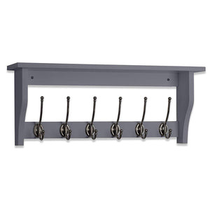 "OCCO Lublin H10.4"" x W25.6"" x D5.5"" / H27cm x W65cm x D14cm Entryway Organizer Coat Rack Wall Mounted I Entryway Shelf With Hooks I 6 Pewter Finish Coat Hook On Dove Grey I Wall Hooks Decorative"