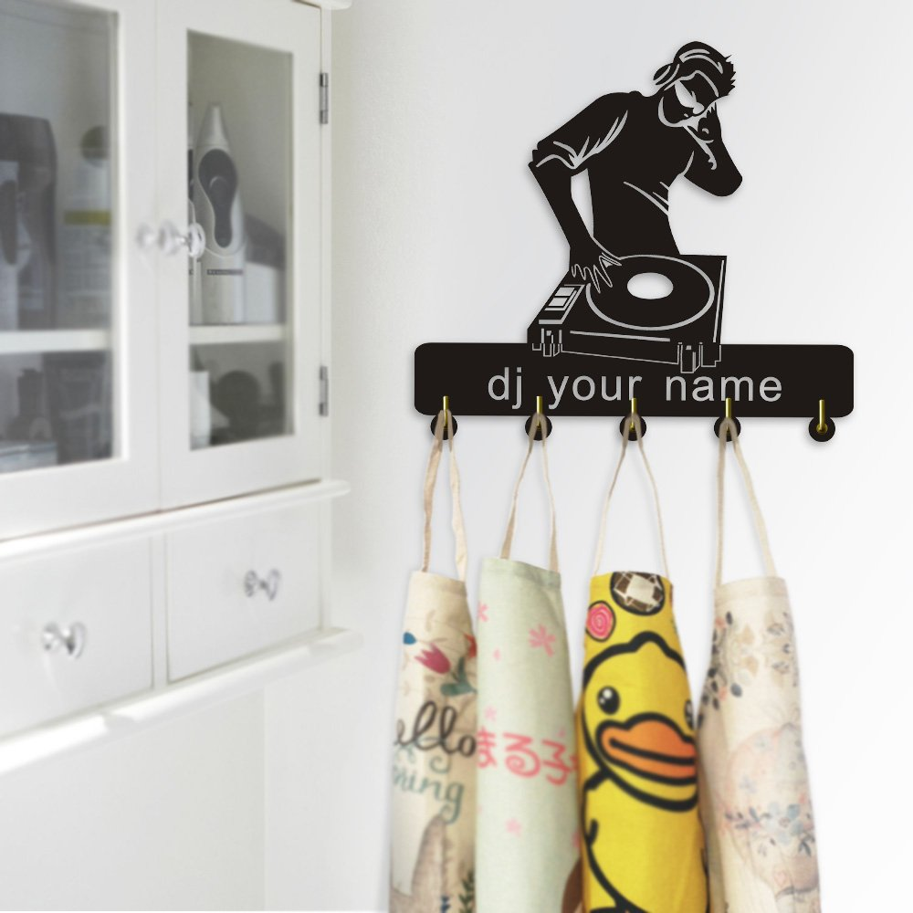 Headphones DJ Your Name Household Decor Multi-Purpose Wall Hook Hanger Customize Name Clothes Coat Keys Hook Bathroom Kitchen Towel Wall Hook