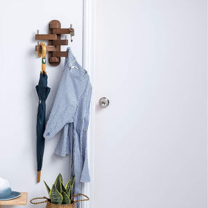 Best seller  solid wood swivel coat hooks folding swing arm 5 hat hanger rail multi foldable arms towel clothes hanger for bathroom entryway bedroom office kitchen kids garage wall mount accessories walnut wood