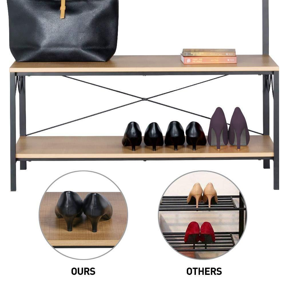 Top rated topeakmart vintage coat rack 3 in 1 hall tree entryway shoe bench coat stand storage shelves 9 hooks in black metal finish