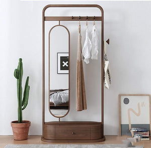 Selection zcyx mirror body household dressing mirror wood hanger bedroom multi purpose coat rack storage rack hanger hooks color a