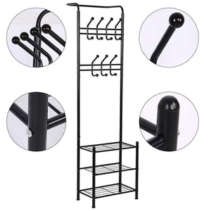 Top rated hall tree coat rack black metal coat hat shoe bench rack 3 tier storage shelves free standing clothes stand 18 hooks entryway corner hallway garment organizer
