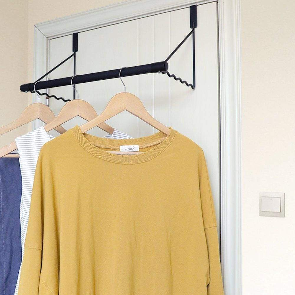 Budget friendly magicfly over the door closet rod heavy duty over the door hanger rack with hanging bar for coat towels holder freshly ironed clothes black