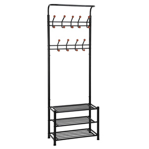 Featured songmics entryway coat rack with storage shoe rack hallway organizer 18 hooks and 3 tier shelves metal black urcr67b