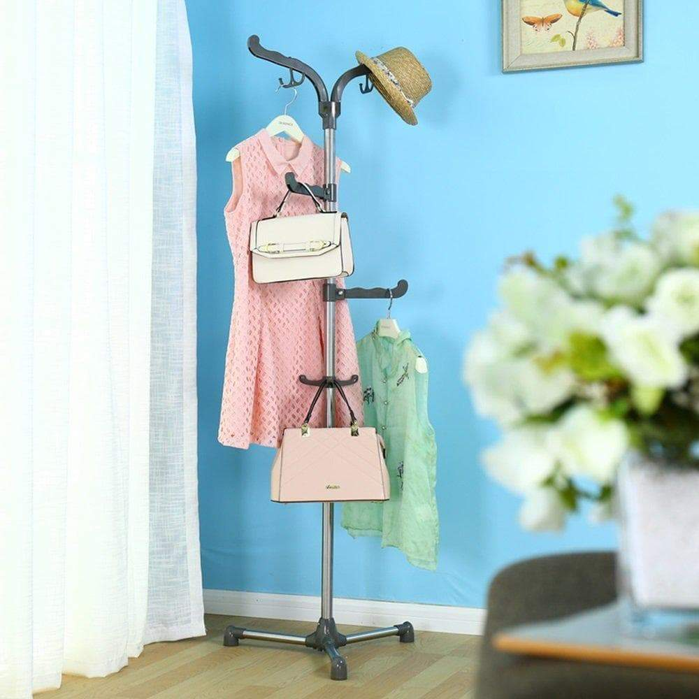 Related mai stainless steel coat rack simple bedroom office floor hanger bag rack rotating hook