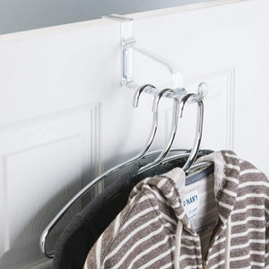 Products mdesign modern over door valet hook multi hanging storage organizer hook for coats hoodies hats scarves purses bath towels robes 3 pack clear