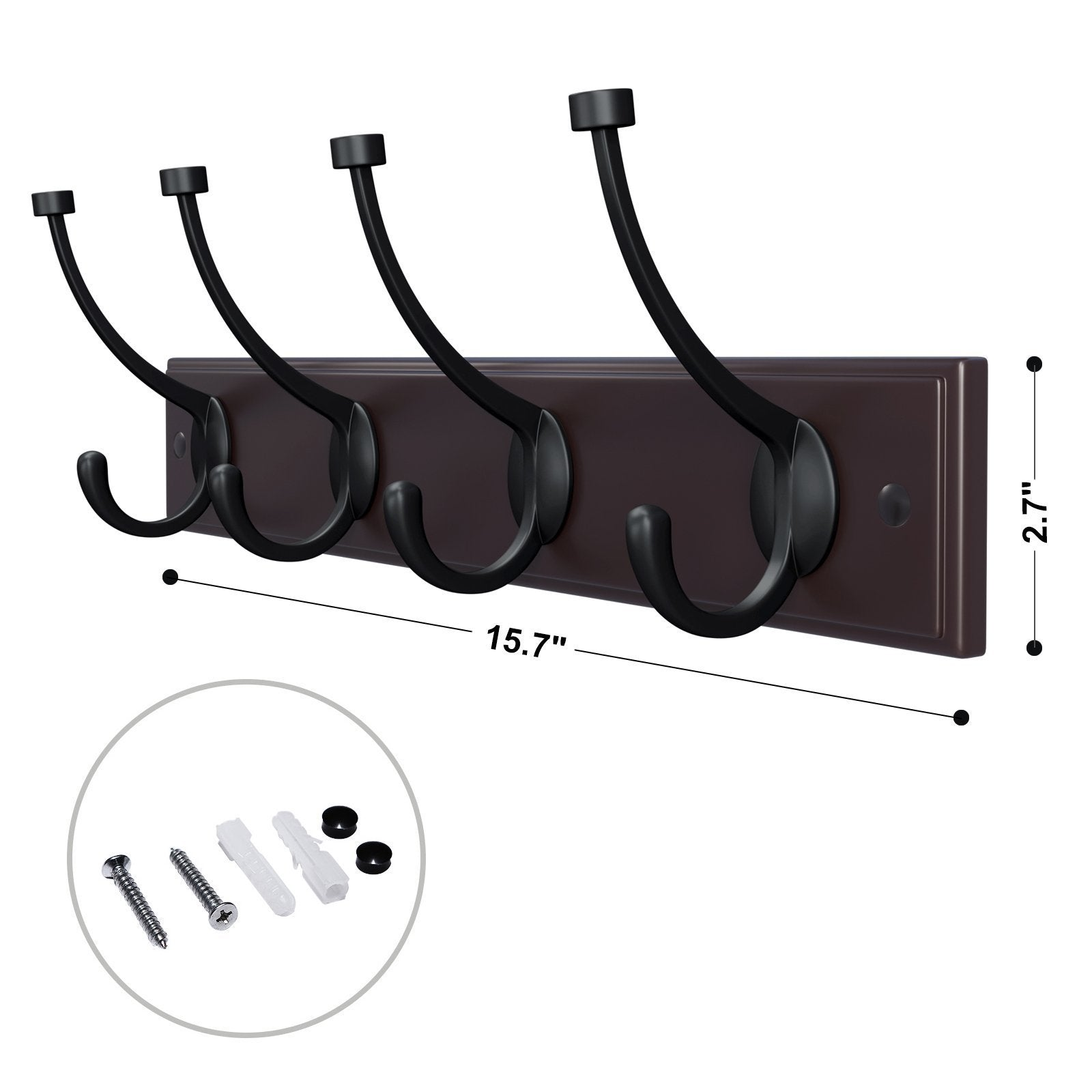 Selection songmics wooden wall mounted coat rack 16 inch rail with 4 metal hooks for entryway bathroom closet room dark brown ulhr20z