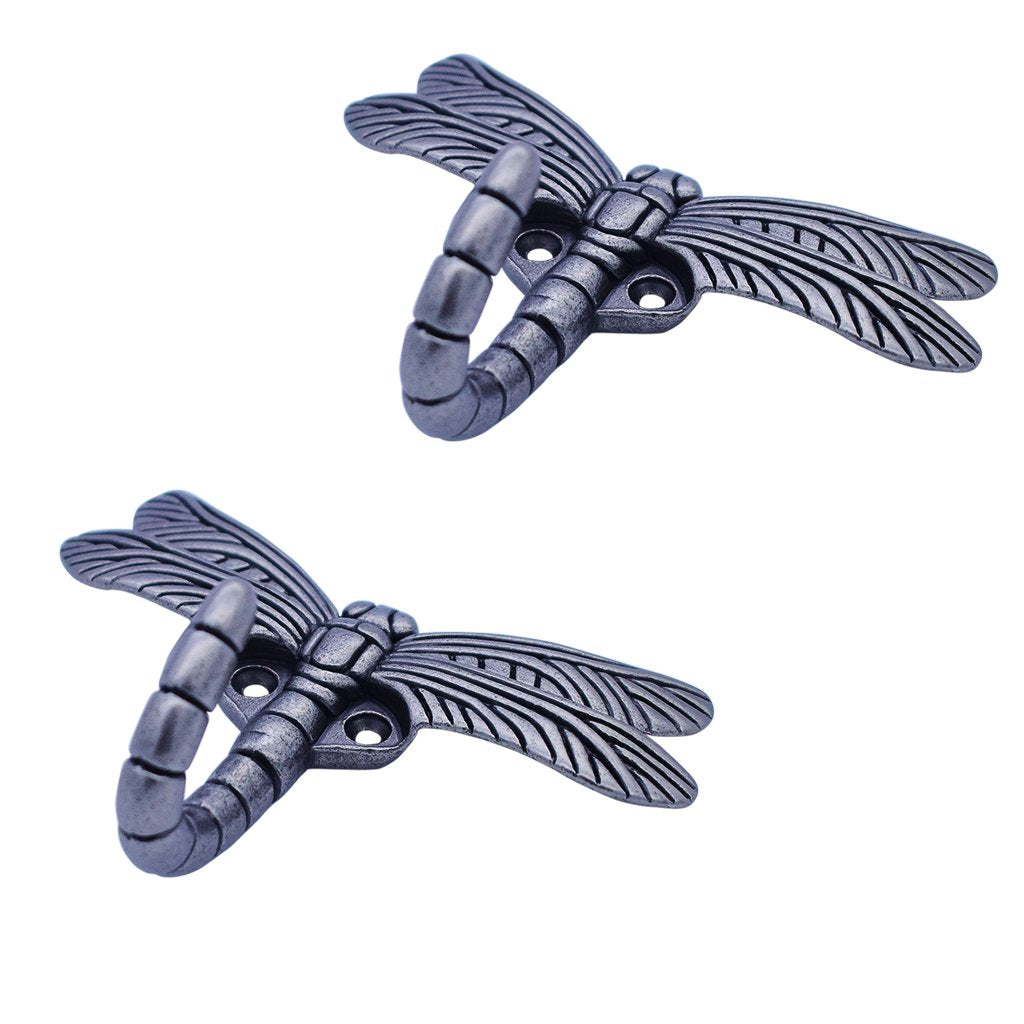 HanLingGG 2 Pack Dragonfly Wall Mounted Hanger Hooks Heavy Duty Coat Tower Hooks with Screws for Clothes, Hat, Bags, Key Perfect Halloween Decorations