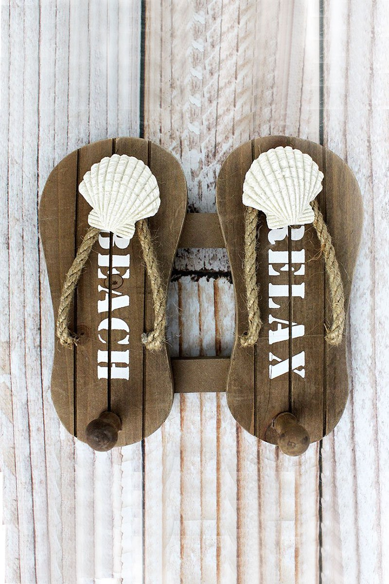 7.25 x 7.25 'Beach Relax' Wood Flip Flop Wall Hook
