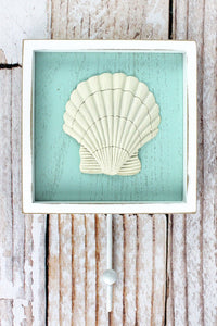 9.25 x 6 Seashell Framed Wood Wall Hook