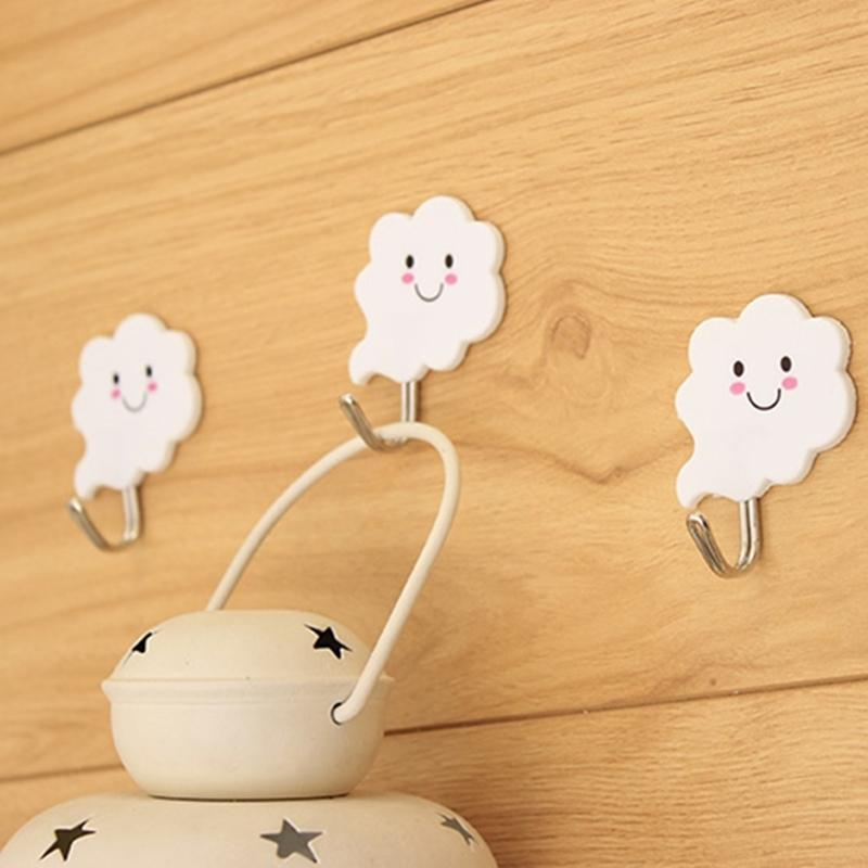 6pcs! Modern Cloud wall hanger paste strip hooks, door white Key wall hooks