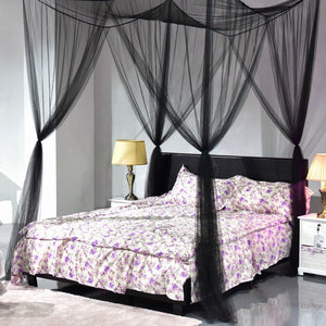 Hihotel 4 Corner Post Bed Canopy Mosquito Net Full Queen King Size Bedroom Sleeping Mesh Netting (74.8''X82.68''x97.49'')
