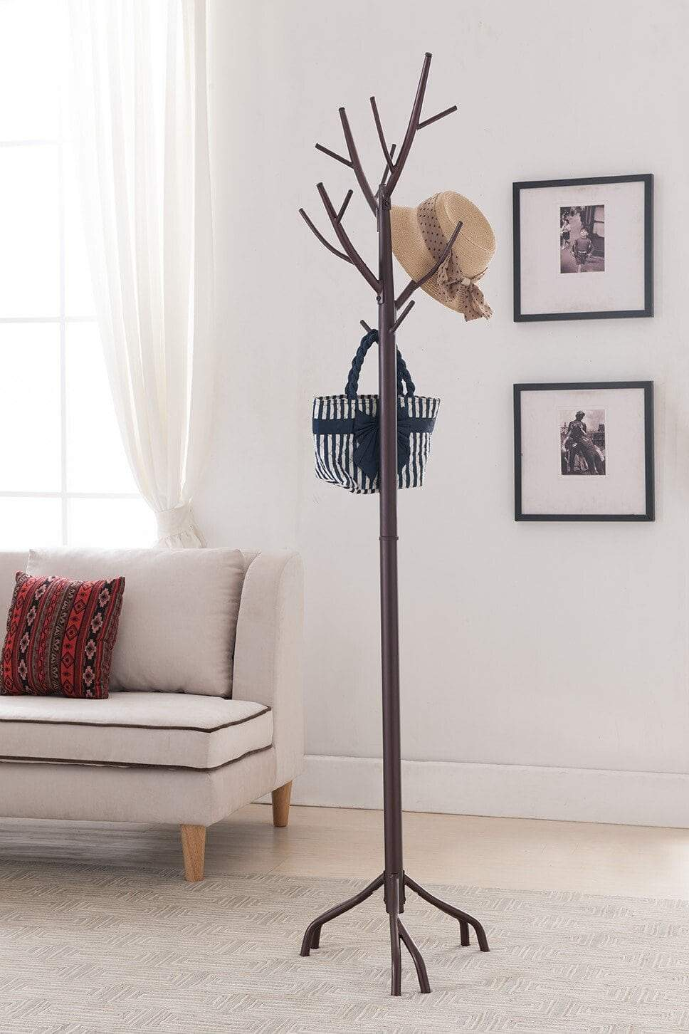 Discover the best kings brand bronze finish metal hall tree coat hat rack with branches