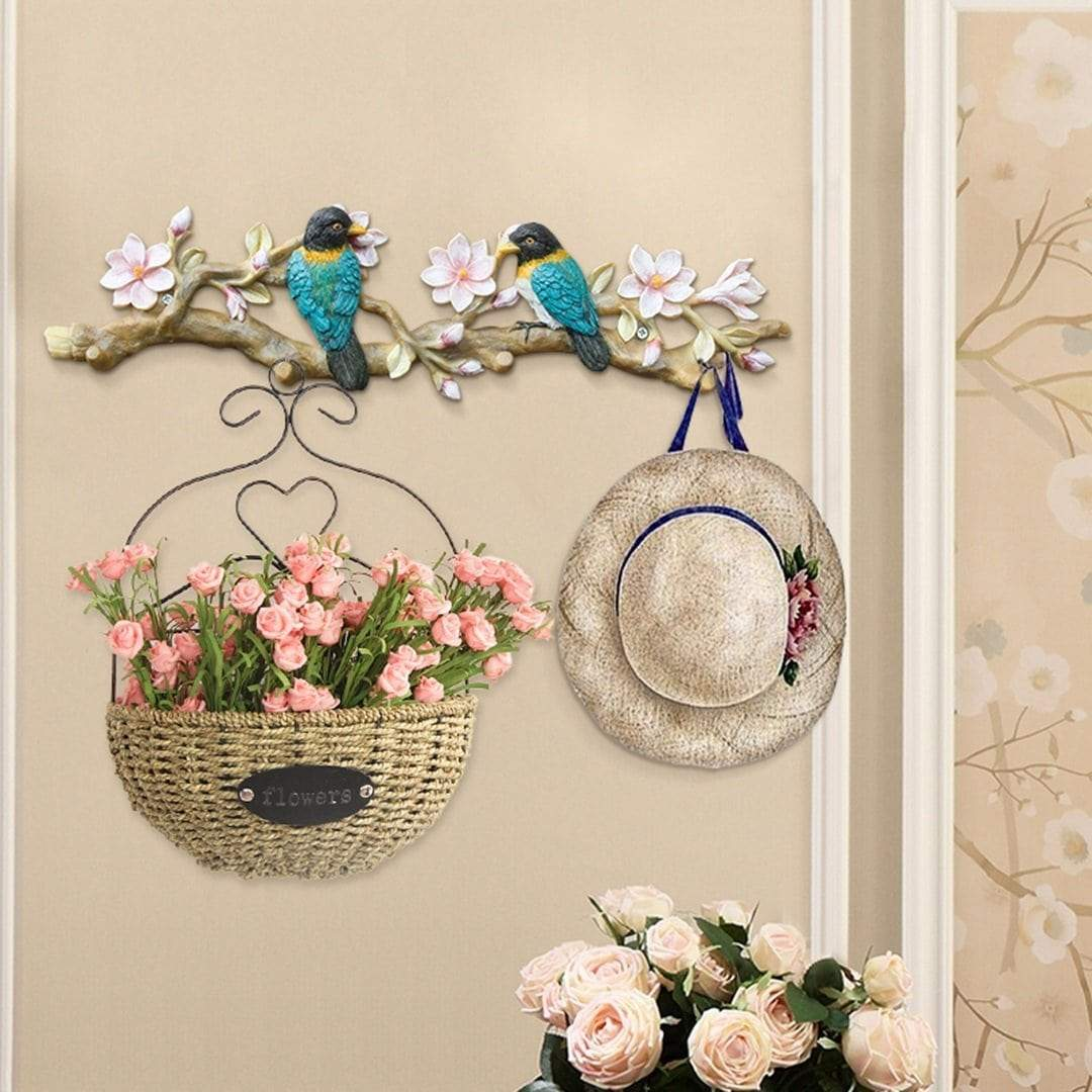 Organize with gljjqmy american decorative bird hook wall hanging creative door wall hanger art retro wall entrance coat hook wall hook color magnolia flower