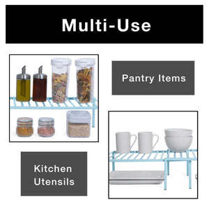 Shop smart design premium kitchen storage shelf w plastic feet expandable steel metal frame rust resistant coating counter pantry shelf organization kitchen 16 32 x 6 inch light blue