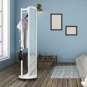 The best tiny times multifunctional 360 swivel wooden frame 69 tall full length mirror dressing mirror body mirror floor mirror with hanging bar coat stand coat hooks ivory white