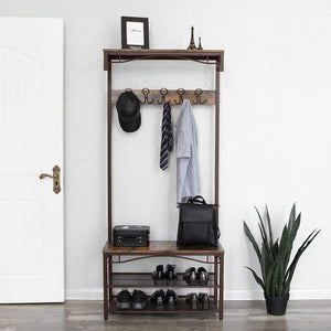 Shop songmics vintage coat rack 3 in 1 hall tree entryway shoe bench coat stand storage shelves accent furniture metal frame large size uhsr45ax