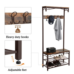 Shop here songmics vintage coat rack 3 in 1 hall tree entryway shoe bench coat stand storage shelves accent furniture metal frame large size uhsr45ax