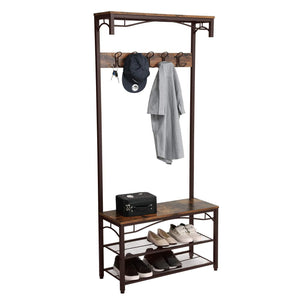 Shop for songmics vintage coat rack 3 in 1 hall tree entryway shoe bench coat stand storage shelves accent furniture metal frame large size uhsr45ax