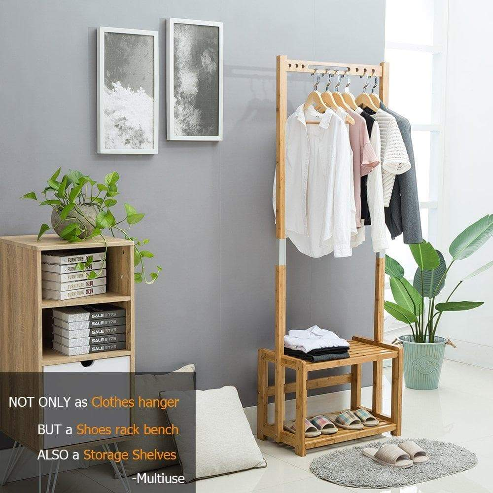 Buy now nnewvante coat rack bench hall trees shoes rack entryway 3 in 1 shelf organizer shelf environmental bamboo furniture bamboo 29 5x13 8x70in
