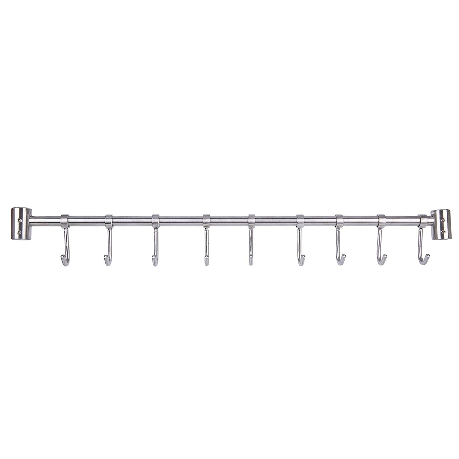 Lebather Kitchen Removable Utensil Rack with Hooks Wall Mount SUS304 Stainless Steel, Brushed Nickel (9 Hooks/19.5 Inch)